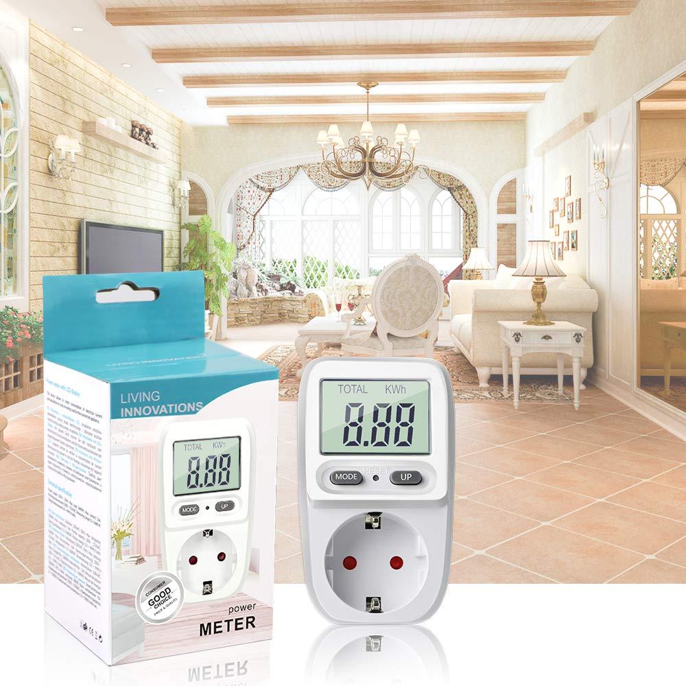 Medidor de Consumo de Corriente del Medidor de Energ/ía con Pantalla LCD y Protecci/ón de Sobrecarga Potencia M/áxima 3680W Aiglam Medidor de Consumo de Energ/ía