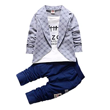 Orcan Bluce Boys Formal Clothing Kids Attire For Boy Clothes Plaid Suit Toddler Suit Set Tracksuits