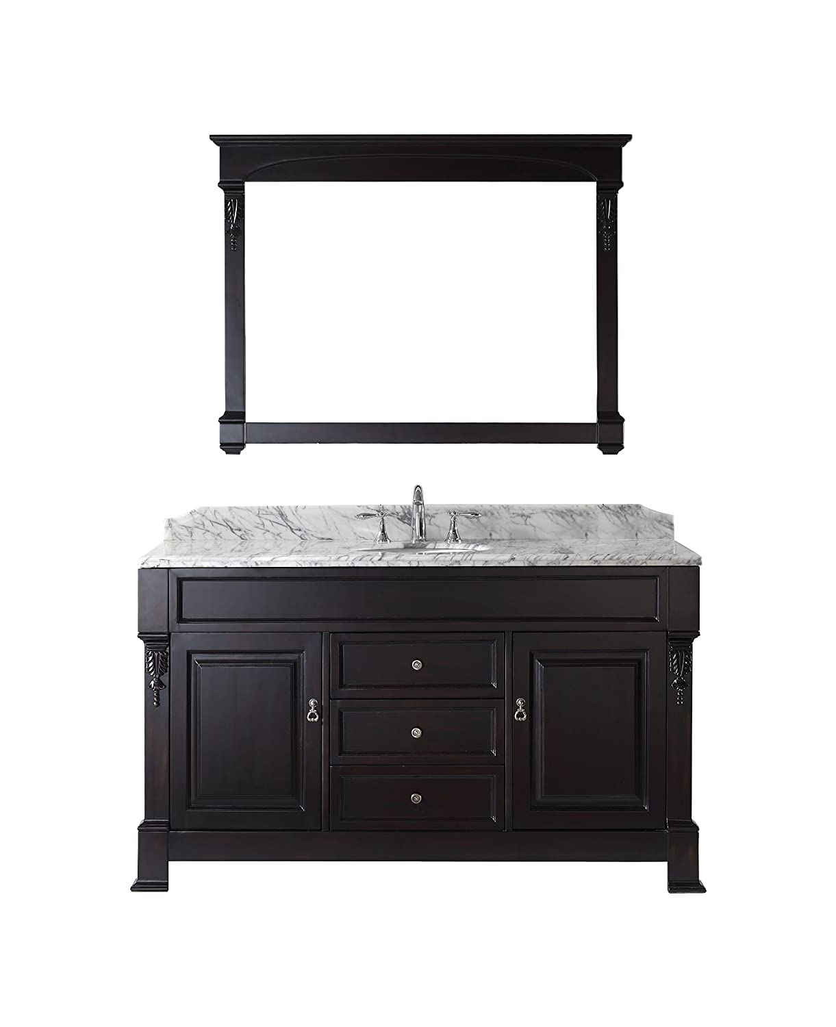 Virtu USA GS 4060 WMRO DW Huntshire 60 Inch Single Sink Bathroom Vanity  With Mirror And Ceramic Basin, Dark Walnut Finish     Amazon.com
