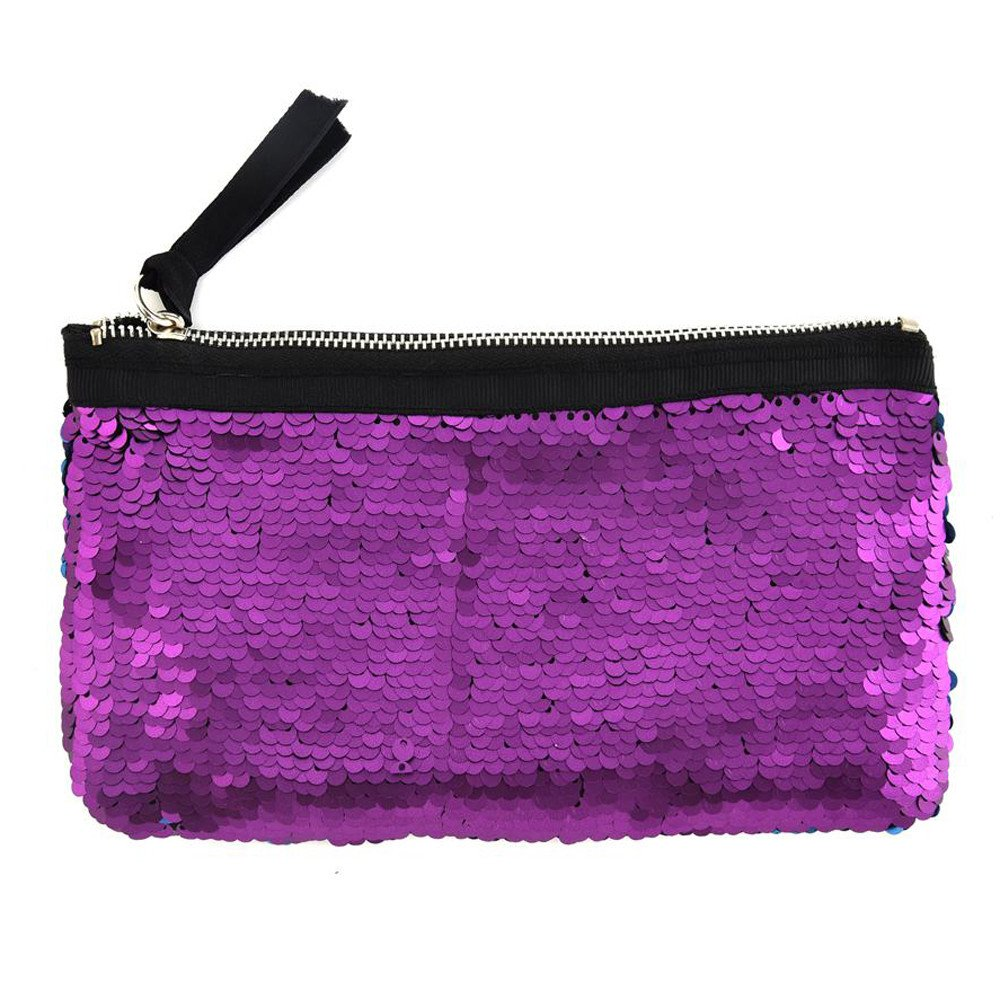 Clearance! Women Make-up Bag Double Color Sequins Coin Cards Holder Purse Wallet Pencil Pouch (C)