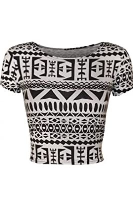 fde612208b7 Women's black white Aztec ladies cap sleeve printed cropped top belly top  (M/l