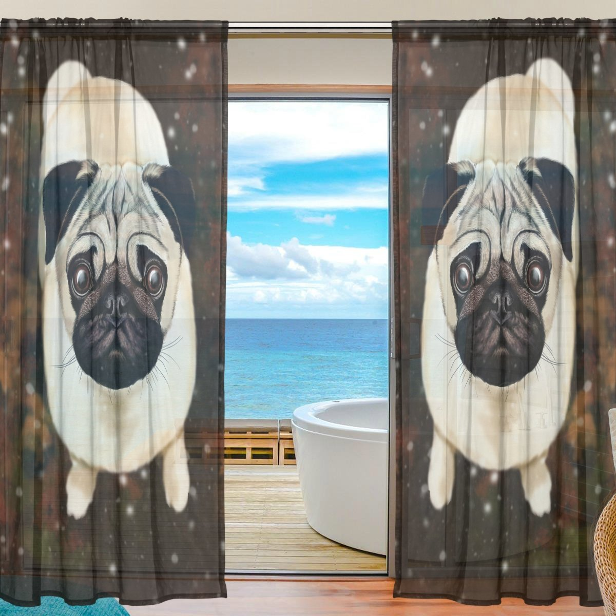 SEULIFE Window Sheer Curtain, Cute Animal Pug Dog Art Painting Voile Curtain Drapes for Door Kitchen Living Room Bedroom 55x78 inches 2 Panels