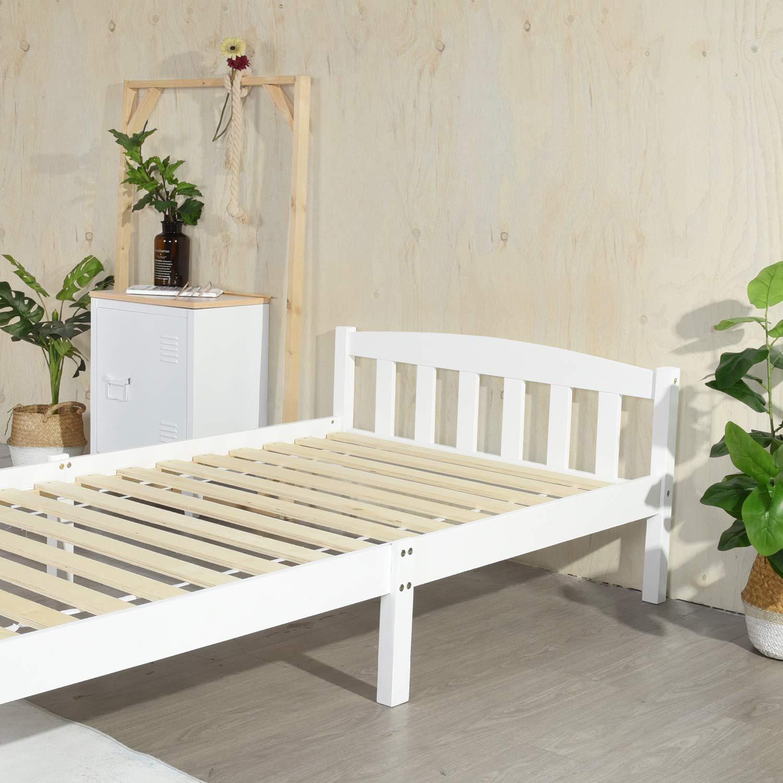 IPOTIUS Lit Simple Cadre de Lit en Bois Massif 90x190cm avec Sommier en Lattes Solide pour Enfants Adultes Blanc