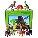 Dinosaur toy plastic figures set of 12 - Large set with names and gift boxed