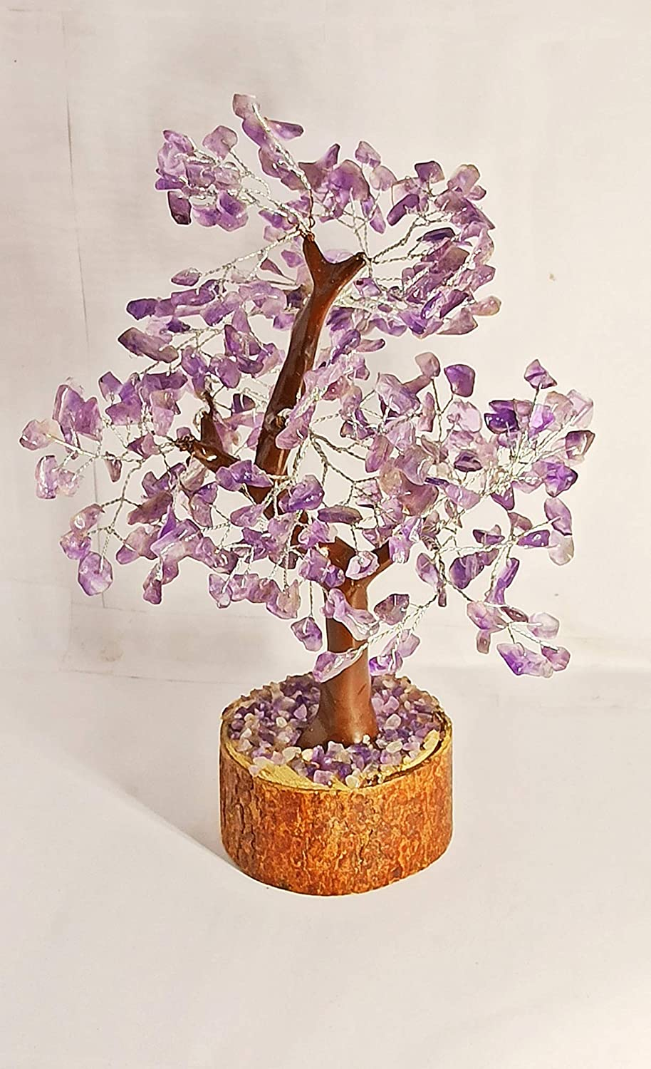 WholesaleGemShop Natural Amethyst Gemstone Tree Silver Wired Handmade Tree of Life Necklace Gift Bonsai Fortune Money Tree for Good Luck,Wealth & Prosperity-Home Office Decor