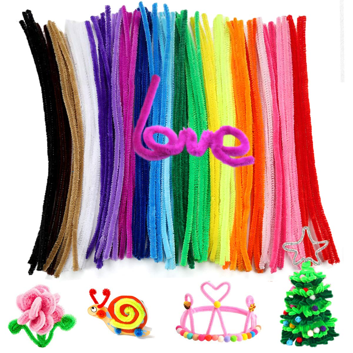 Pipe Cleaners Chenille Stems 6 mm x 12 Inch for DIY Art Craft 100 Pieces Christmas Gift Black SHEENROAD