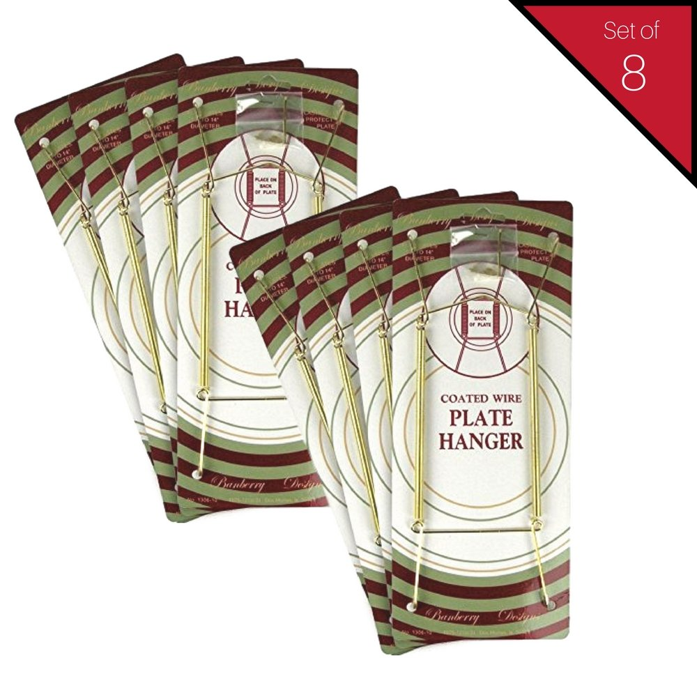 BANBERRY DESIGNS Brass Vinyl Coated Plate Hanger 10 to 14 Inch - Set of 8 Pcs - Clear Vinyl Sleeves Protect The Plate - Hook and Nail Included by BANBERRY DESIGNS