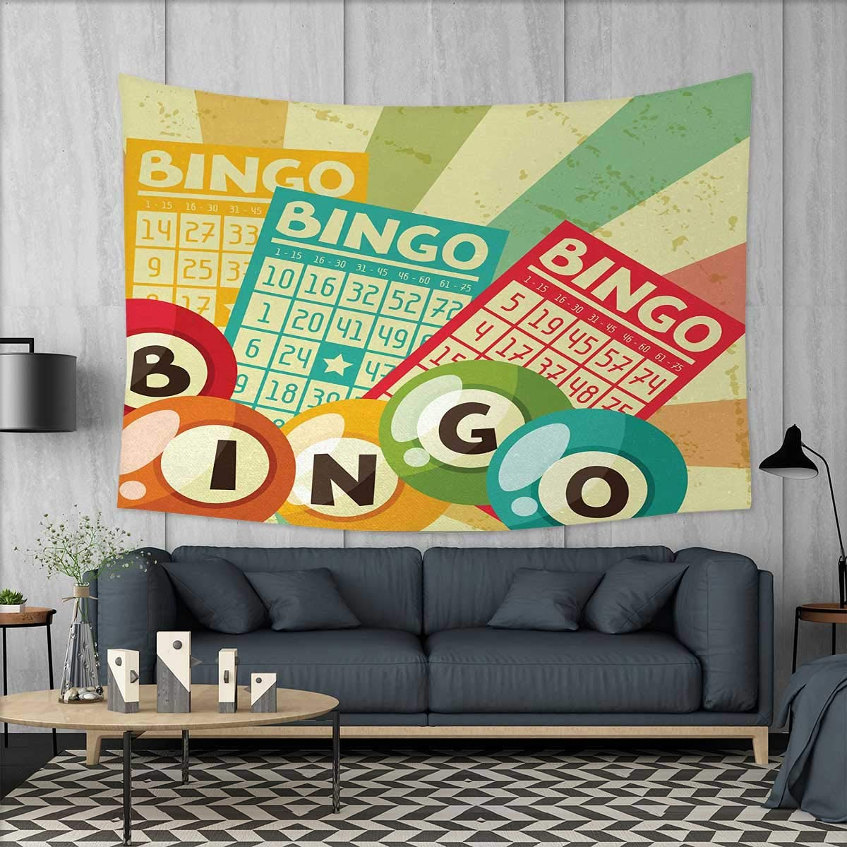 Anniutwo Vintage Wall Hanging Tapestry Bingo Game with Ball and Cards Pop Art Stylized Lottery Hobby Celebration Theme Customed Widened Tapestry W90 x L60 (inch) Multicolor by Anniutwo
