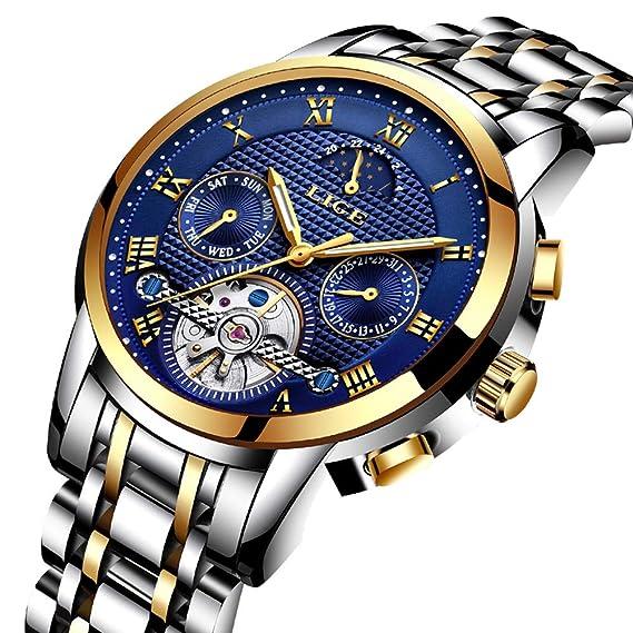 Impermeable Fase Acero Para Pulsera Lunar Reloj Casual De Tourbillon Moda Automático Inoxidable Relojes Hombres lige Esquelético Mecánico v8Nnmw0