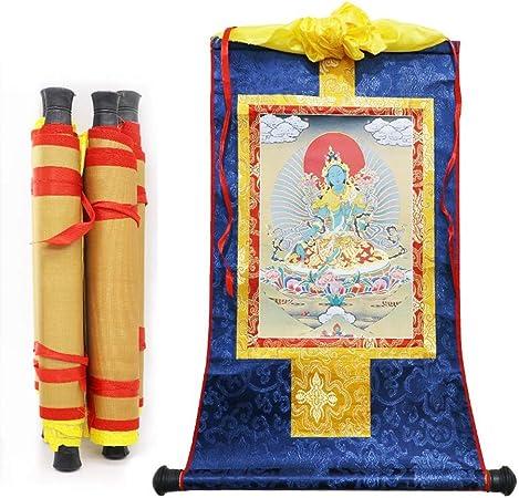 Prime Feng Shui Broderie en Soie tib/étaine Thangka avec Bouddhisme Vert Tara D/écoration Murale pour la Maison//Temple Bouddhiste Small Satin