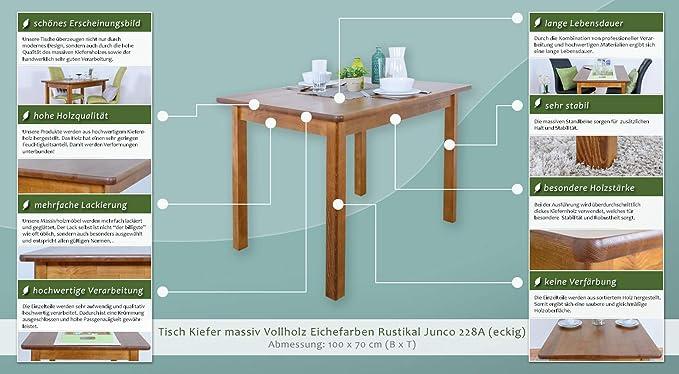 Tisch Kiefer massiv Vollholz Eichfarben Rustikal Junco 228A