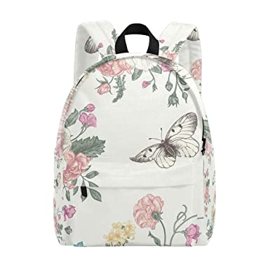 dbdc03a1e4 Image Unavailable. Image not available for. Color  MAPOLO Flowers And Butterflies  Lightweight Travel School Backpack for Women Girls Teens Kids