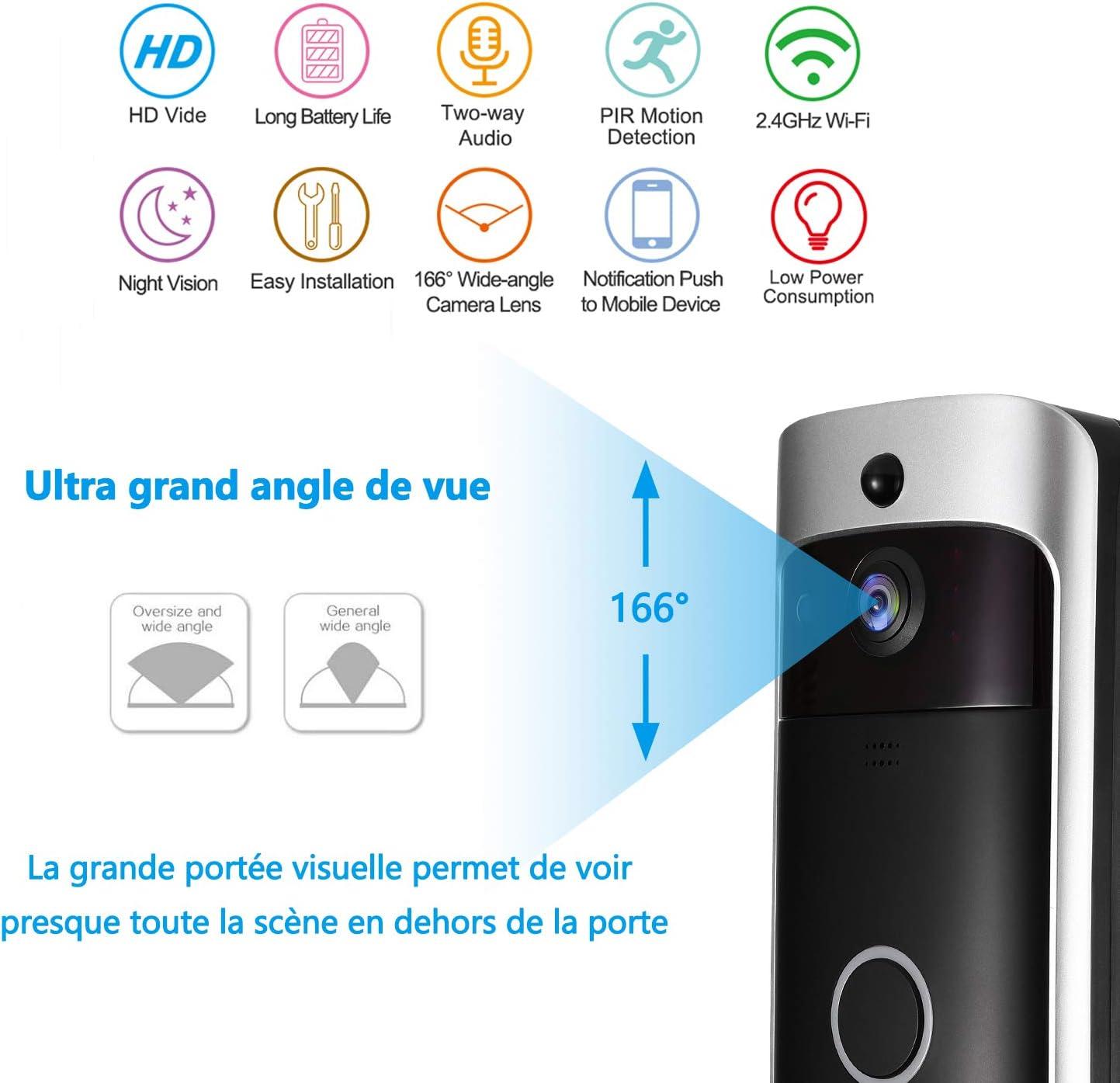 Nestling/® Sonnette vid/éo,720P HD Sonnette WiFi sans Fil avec 16G Carte,Conversation bidirectionnelle,d/étection de Mouvement en Temps r/éel,Commande /à Distance pour app pour iOS//Android