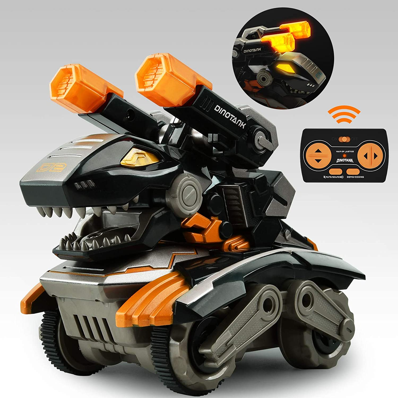 GizmoVine Dinosaurios Coche Teledirigido,Coche Monstruo RC con luz LED Sonido y Batería Recargable,Dinosaur Tank Toys Vehículos de Animales para Niños Niñas 2 3 4 5 6 7 8 (Amarillo)
