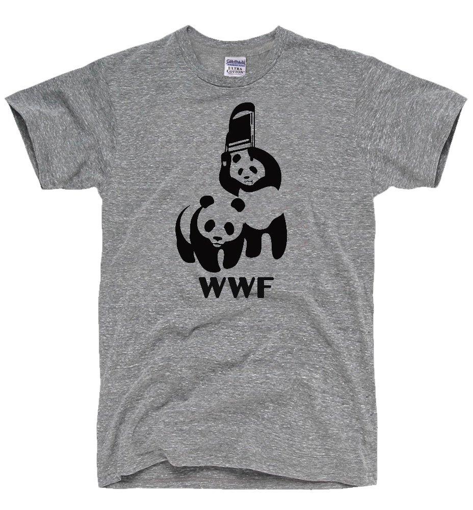 DirtyRagz Men's WWF Funny Panda Bear Wrestling T Shirt 2XL Heather Grey by DirtyRagz