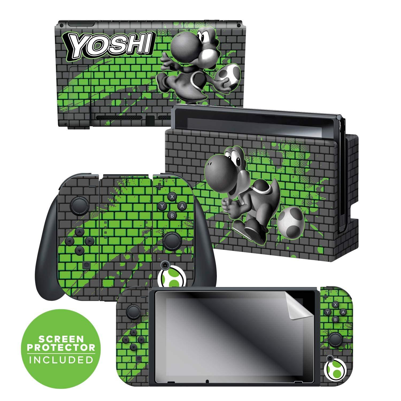 "Controller Gear Officially Licensed Nintendo Switch Skin & Screen Protector Set - Super Mario - ""Yoshi Bricks"" - Nintendo Switch"