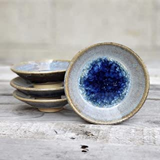 product image for Geode Ring Dish in Cascade, Individual Ring Dish, Fused Glass Dish, Trinket Dish, Soap Dish, Crackle Glass, Candle Holder, Dock 6 Pottery, Kerry Brooks Pottery