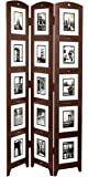Kiera Grace Triple Panel Floor Photo Screen, 33 by 64.5-Inch, Holds 15 - 5 by 7-inch Photos, Espresso