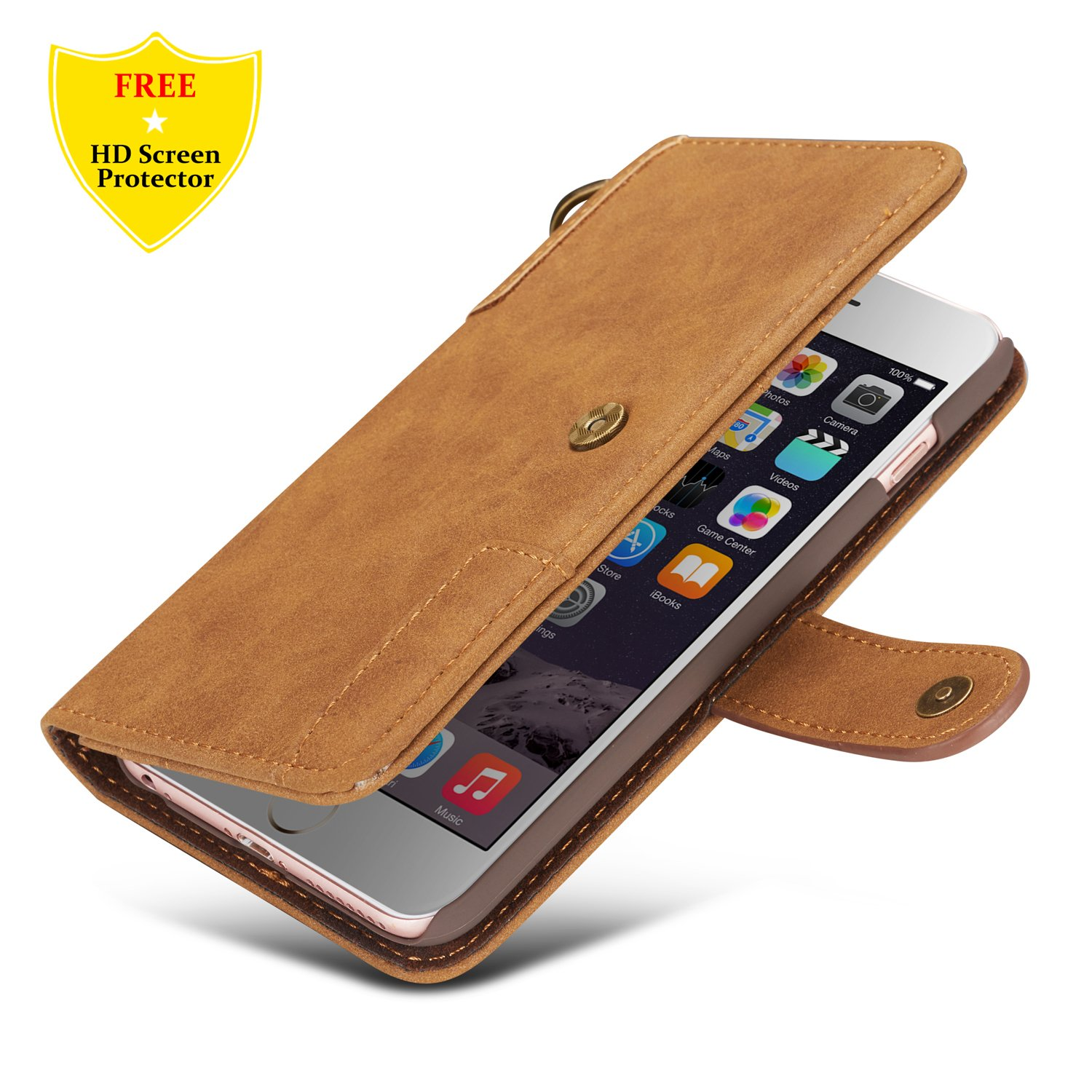 iPhone 8 Case,iPhone 7 Case + Free HD Screen Protector,idatog® High Quality PU Leather Wallet Flip Folio Book Case Cover with Kickstand Feature Card Slots and Magnetic Closure For Apple iPhone 8/iPhone 7 4.7 Inch (Dark Blue) id-YJ-FGGSPU-0329019