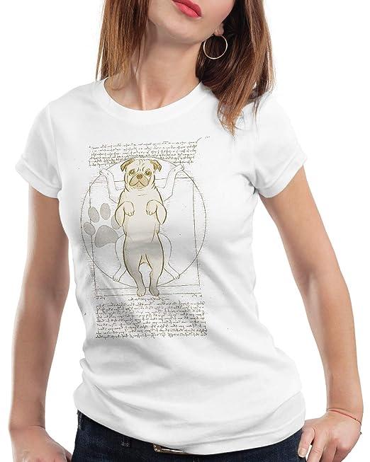 Para Camiseta Vitruvio Mujer Style3 Pug T De Perro Da Vinci Shirt KJc3FT1l