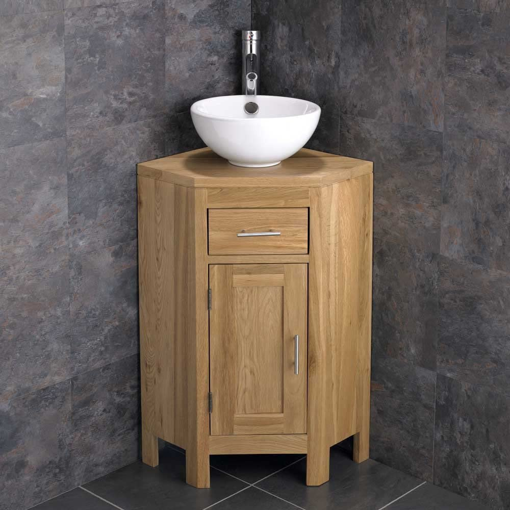 Clickbasin Alta Solid Oak Single Door Freestanding Space Saving Corner Bathroom Cabinet With Round Ceramic Basin Mixer Tap And Pop Up Waste Amazon Co Uk Kitchen Home