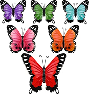 Blulu 6 Pieces Metal Butterfly Wall Art Metal Butterflies Wall Decor Sculpture Inspirational Wall Hanging Butterfly for Indoor and Outdoor Home Office Decoration, 3 Sizes, 6 Colors