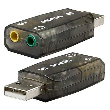 USB 2.0 a Audio Adaptador con 3.5mm Microfono Jack Gris 3D Sound Tarjeta Sonido