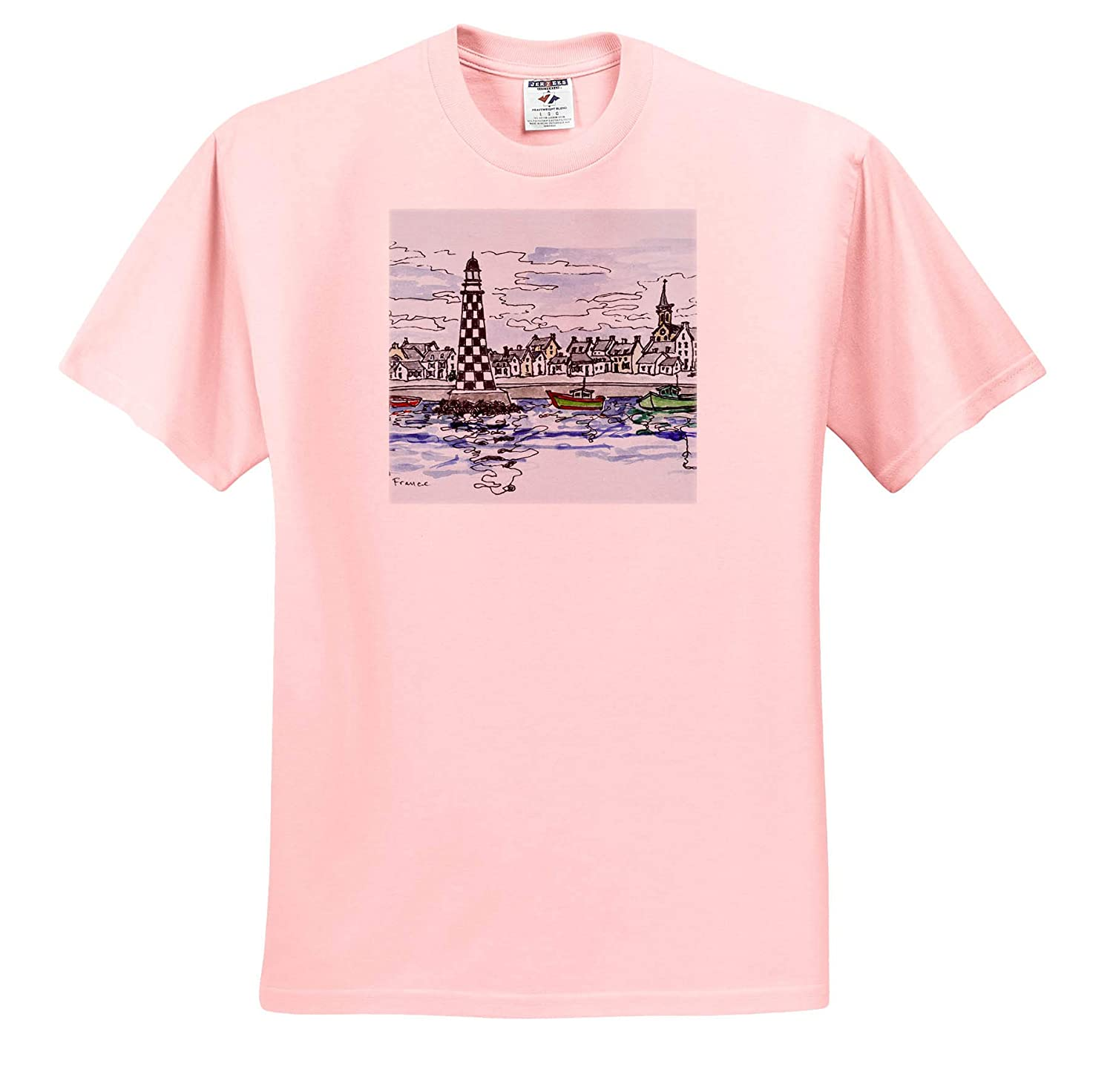 France Perdrix Lighthouse Brittany France Adult T-Shirt XL Loctudy ts/_313162 3dRose Danita Delimont
