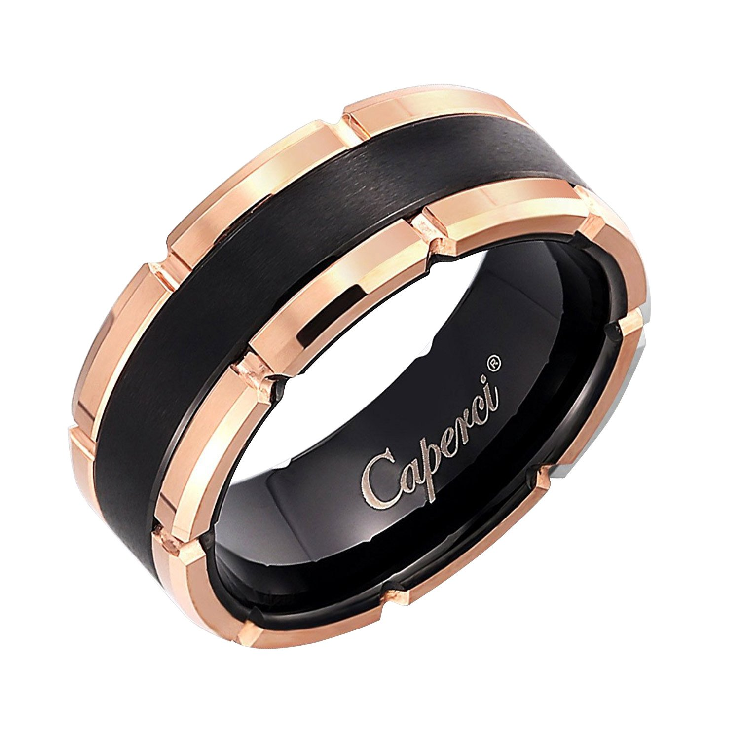 Caperci Men's 8mm Black and Rose Contemporary Tungsten Wedding Band Ring Size 11.5