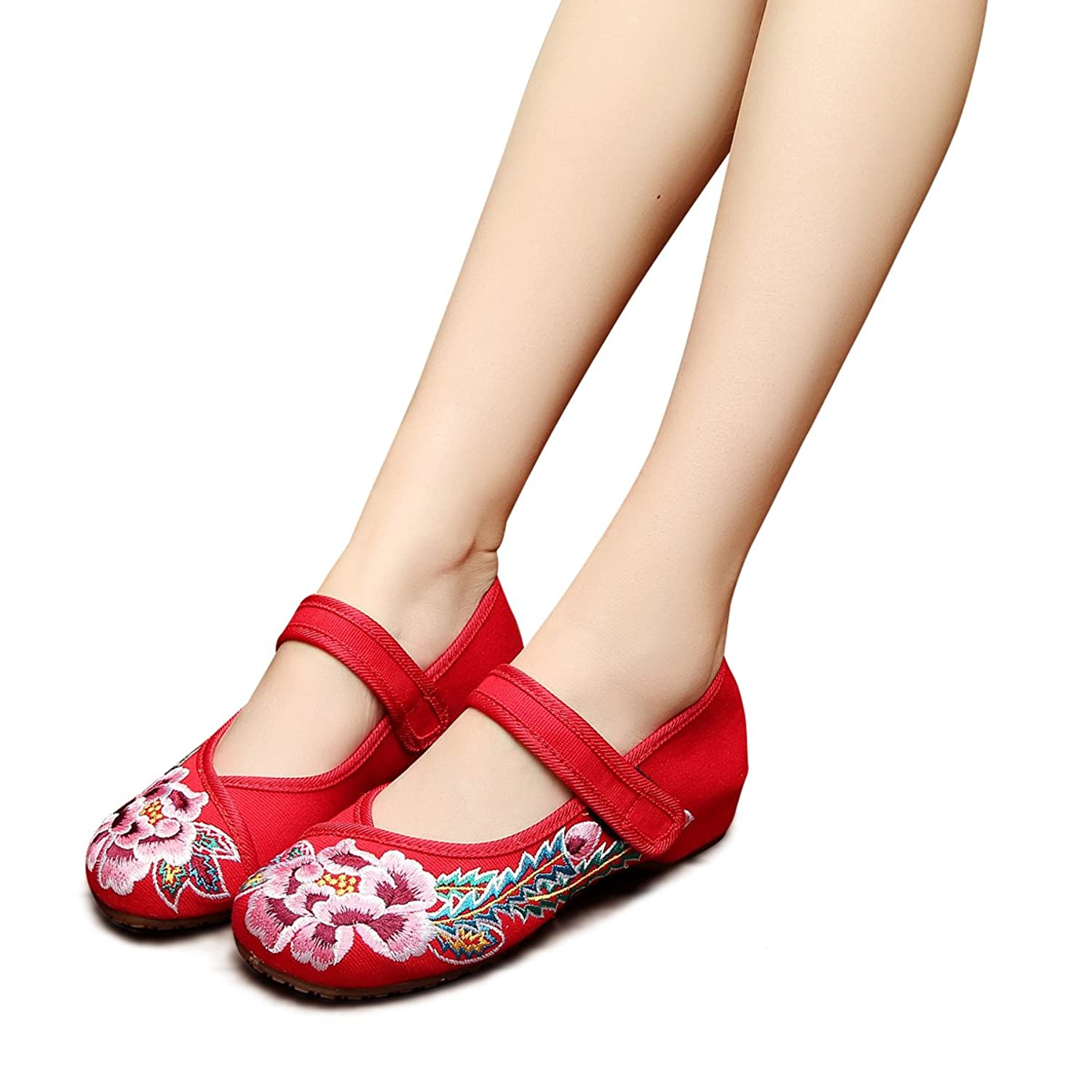 883bbf4de605f Veowalk Floral Embroidery Women's Canvas Flat Shoes Vintage Mary ...