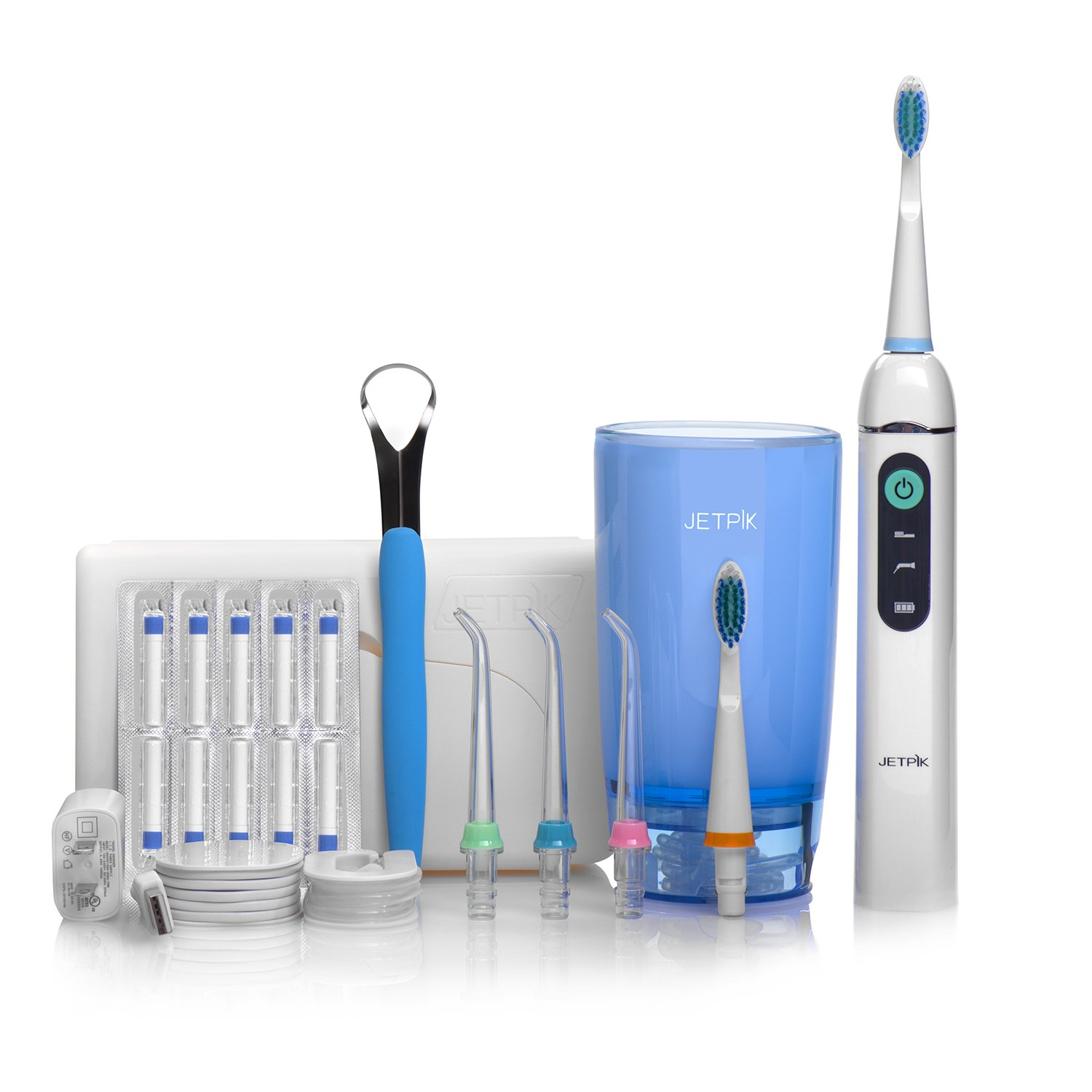 Electric Water Flosser Set with Travel Case, Charger, Tongue Cleaner, Toothbrush, and Flosser Tips, Rechargeable Flosser & Sonic Toothbrush - JP200 Elite - Jetpik