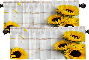 Batmerry Yellow Sunflower White Kitchen Valances Half Window Curtain, Rustic Fall Autumn Flower Floral Pattern Kitchen Valances for Windows Valance for Decor Reducing The Light 52x18 Inch