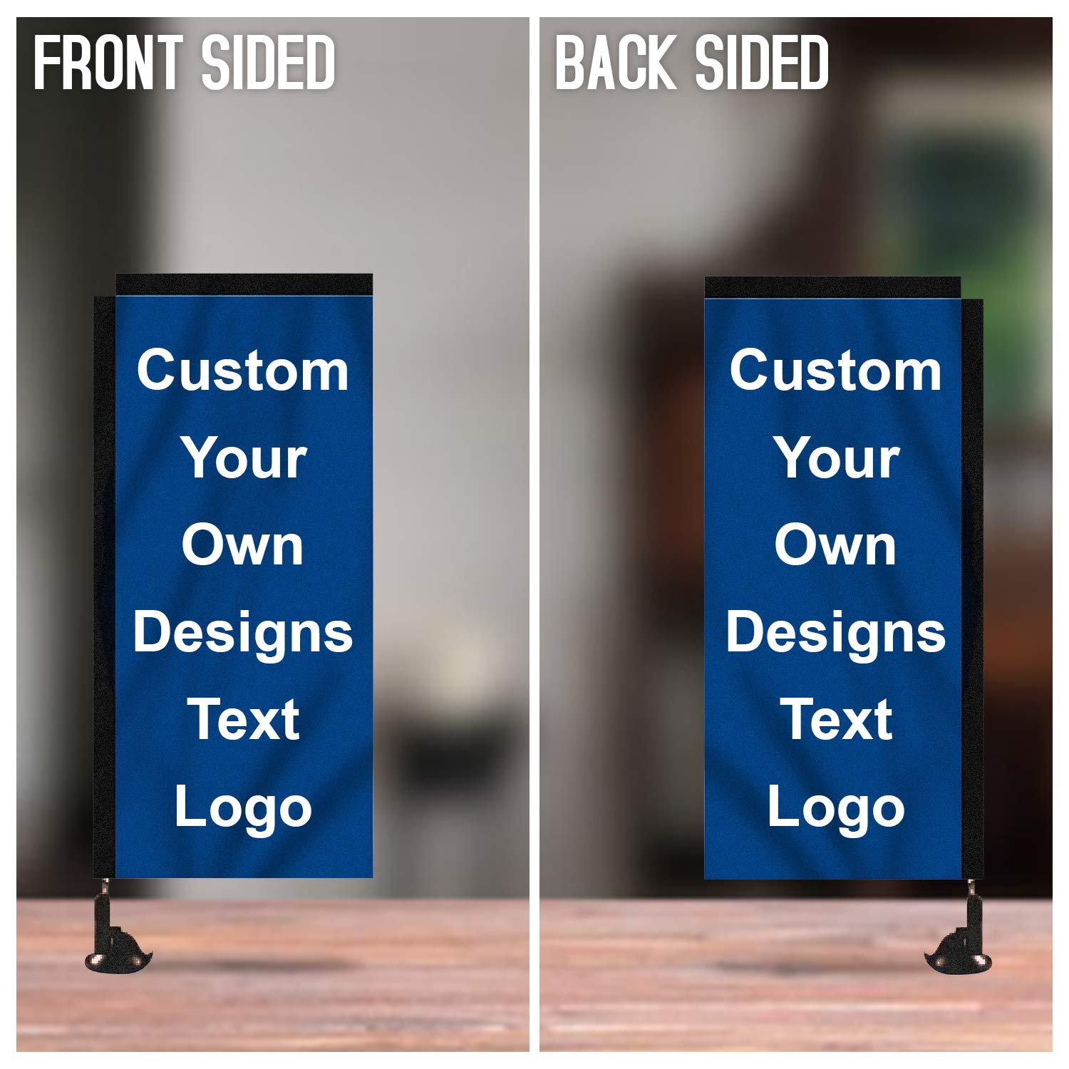 Custom Suction Cup Flag, Rectangle Shape Mirror Hanging Flag, Great Business Advertising Flag, 9.06'' X 20.47'' (Double Sided Print)