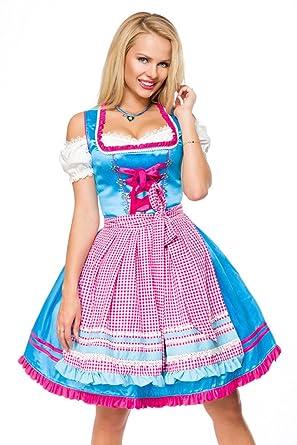 Dirndl Karo Schürze Trachtenkleid Mini Kleid Oktoberfest Wiesn Tracht 70042