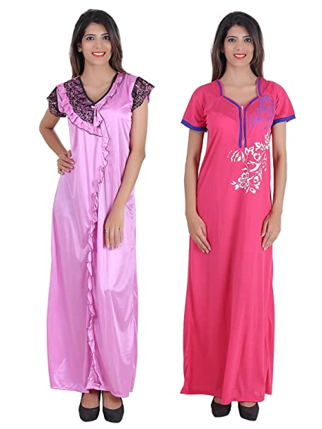 Glossia Beautiful One Satin   One Cotton Nighty Gown Combo(Pack of 2) for  Women Girls(Free Size Nighty)  Amazon.in  Clothing   Accessories 62142f3ca