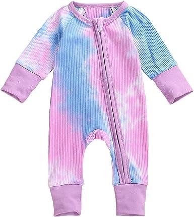 Maemukilabe Newborn Baby Boy//Girl Clothes Tie Dye Romper Button Bodysuit Long Sleeve Jumpsuit Playsuit Basic Plain Outfit
