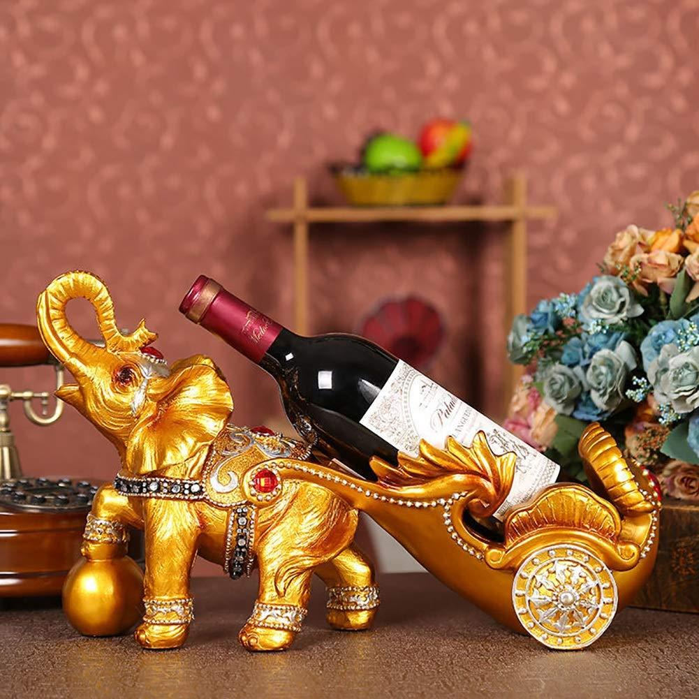 XiYunHan Resin Crafts European Golden Elephant Cart Wine Grape Rack Home Living Room Decoration Hotel Decorations Wine Bottle Rack Indoor Living Room Desktop Kitchen Sculpture Display Stand