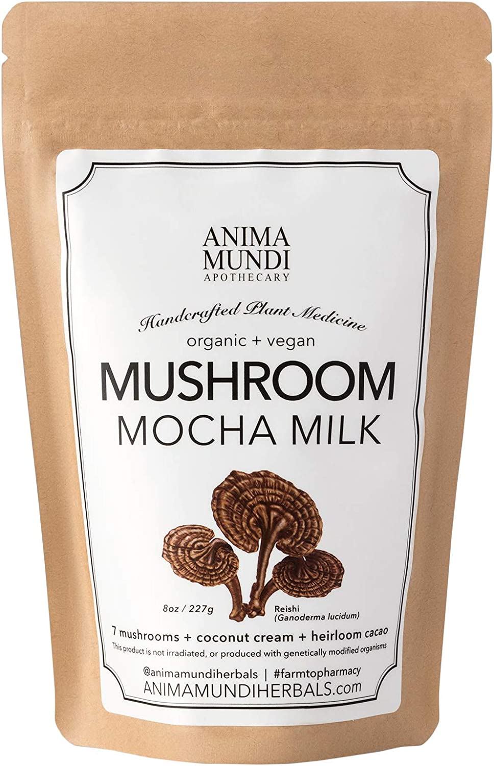 Anima Mundi Mushroom Mocha Milk – Organic Instant Creamer with Coconut, 7 Mushrooms Cacao Powder 8oz 227g
