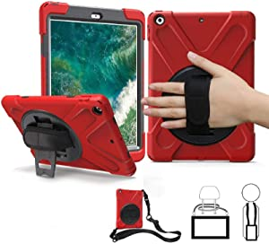 iPad Air Case (Not for Air 2), TSQ Silicon Shock Dropproof Plastic Bumper Rubber Hard Cover with Rotating Stand, Hand Handle Grip & Shoulder Strap for Kids Clildren Apple Tablet Skin Carrying Bag Red