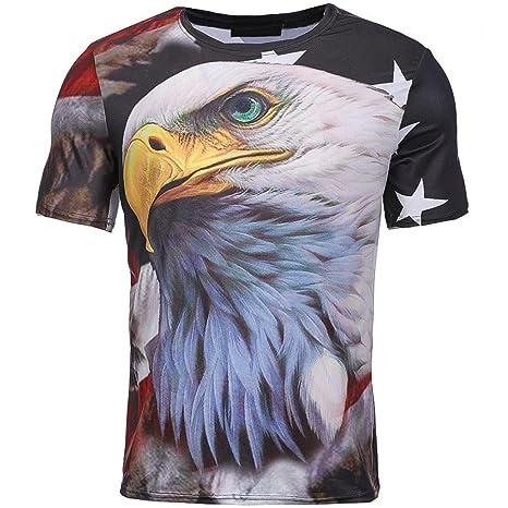 LuckyGirls Camisetas Hombre 3D Originales Estampado de Eagle y Bandera Nacional Manga Corta Verano Moda Musculoso Polos Diseño… x5GL3P7