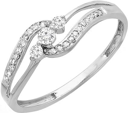 anillos de compromiso de oro blanco y diamantes