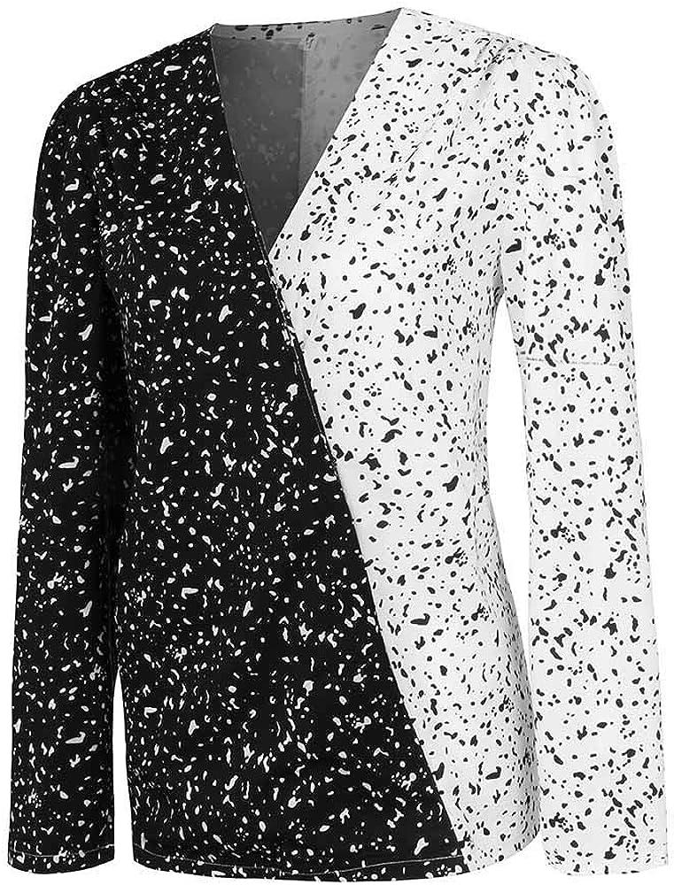 Loolik Camisa Mujer Coincidencia de Color Blanco y Negro Cuello en V Manga Larga Casual Blusa y Blusa Otoño e Invierno Mujer 2019 Otoño e Invierno Fiesta (Negro, S): Amazon.es: Ropa y
