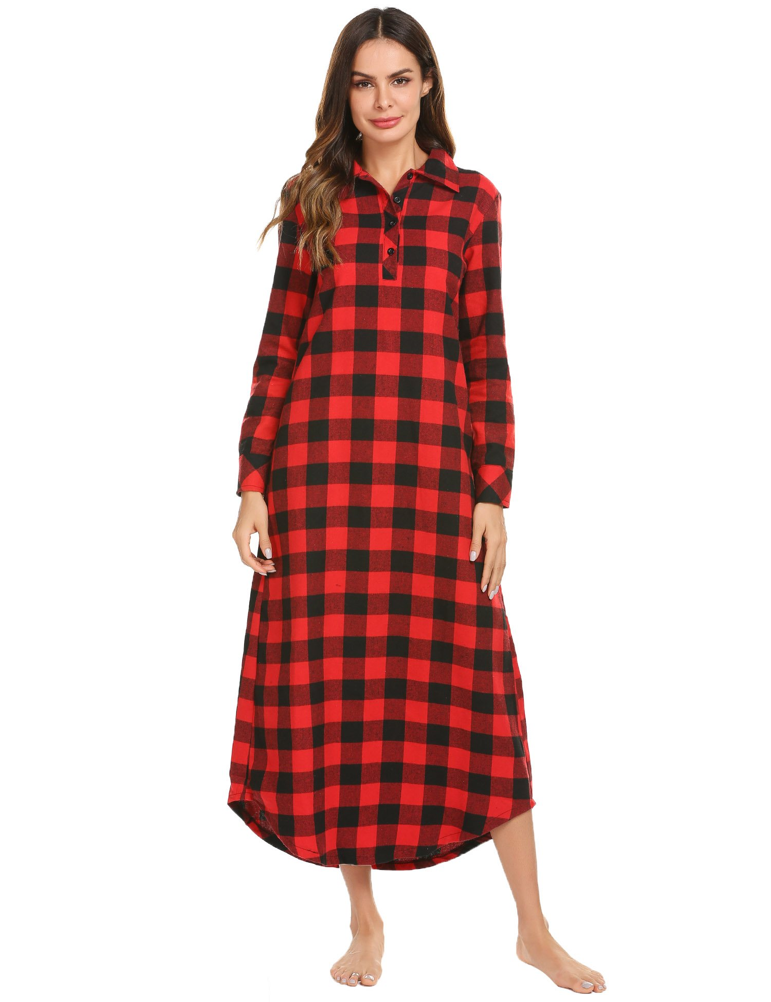 Ekouaer Sleepwear Womens Plaid Casual Collar Nightshirt Long Sleeve Long  Nightgown 6f2f1a369