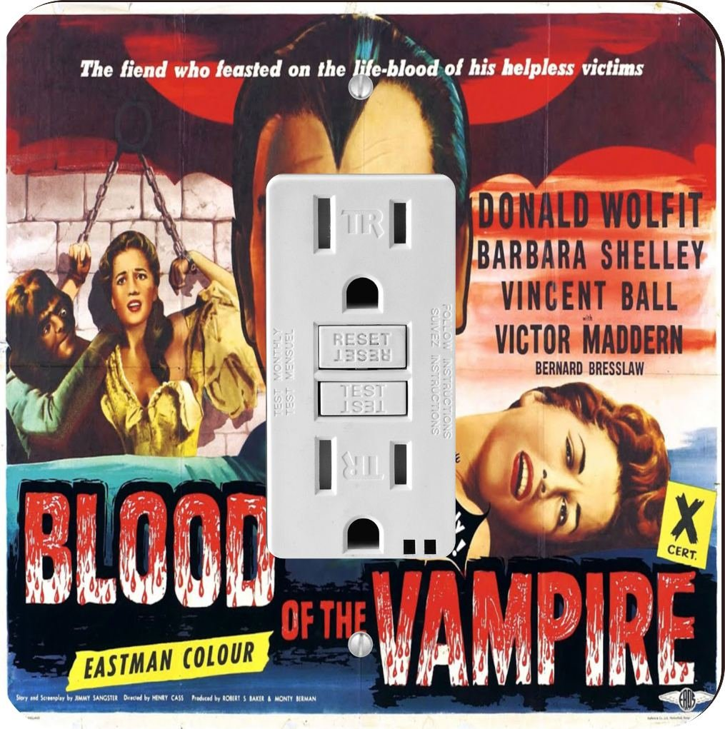 Rikki Knight 3703 GFI Single Vintage Movie Posters Art Blood of Vampire 3 Design Light Switch Plate