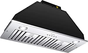 Range Hood Insert 30 Inch,Vent Hood Insert,Ducted/Ductless Convertible,600 CFM,Stainless Steel,MCBON (30 INCH)
