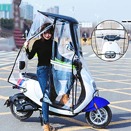 AFAGC Universal Electric Motorcycle Sunshade Cover Scooter Rain Waterproof Cover Battery Car Canopy Umbrella Cover,Fully Enclosed Transparent Curtain Black