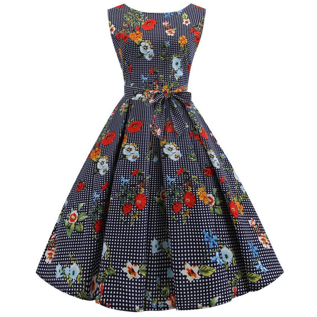 Boho Kleid Frau ÄRmellos Blumendruck Rockabilly Abend Partykleid Swing-Kleid