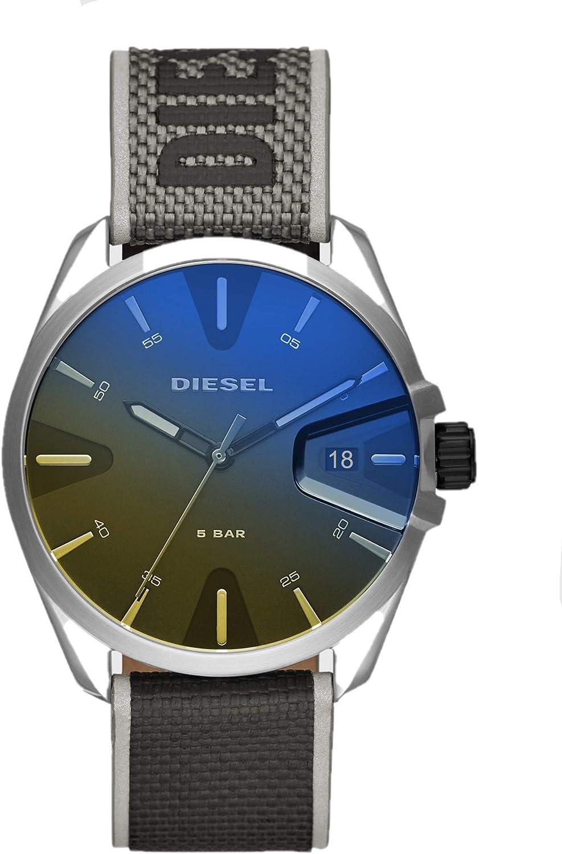DIESEL MS9 dial Iridiscente de múltiples Colores y Tres manecillas con Correa de Nylon Negra para Hombre Reloj DZ1902