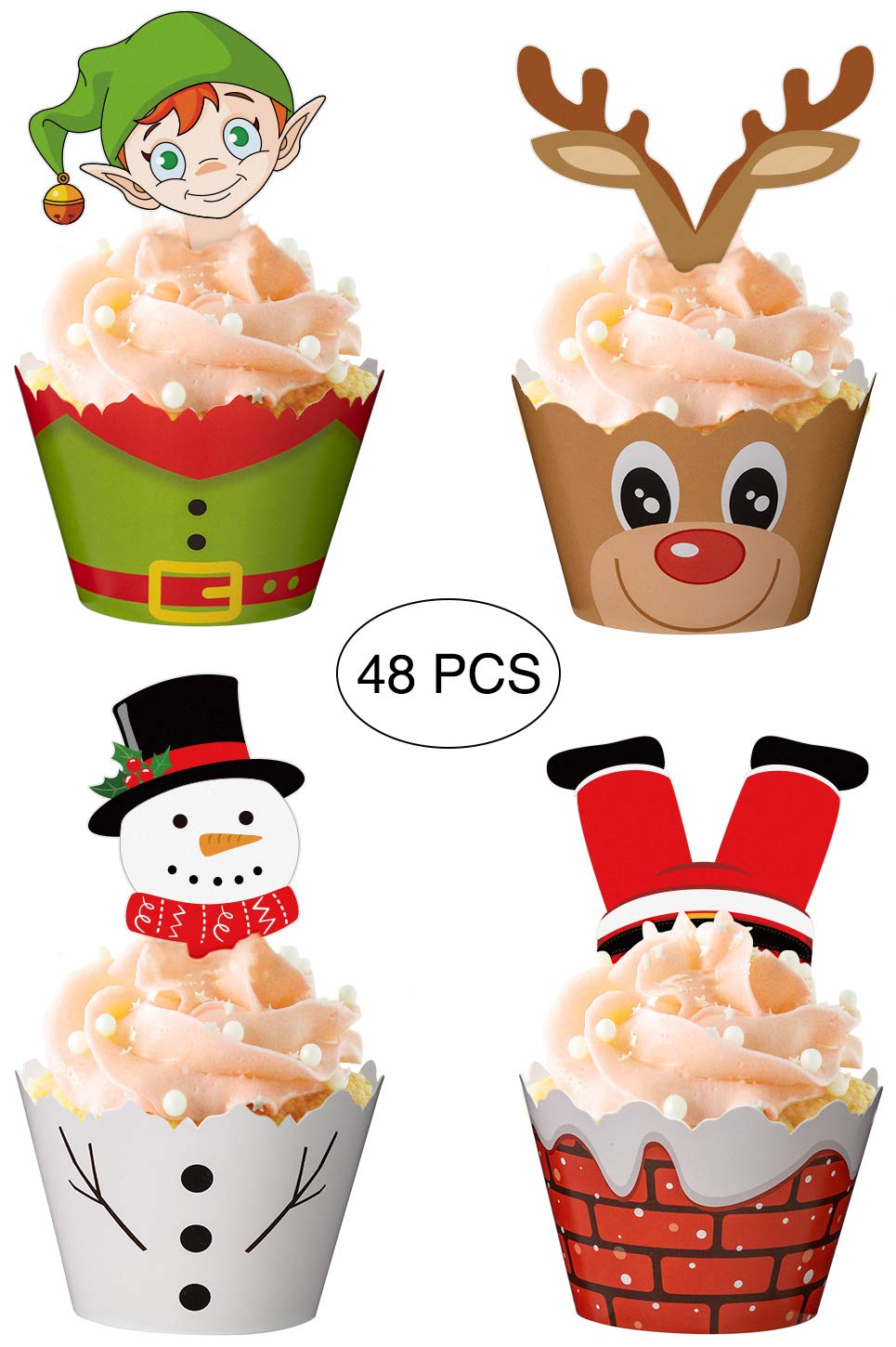 Christmas Cupcake Toppers and Wrappers Party Supplies/Favors - Snowman/Santa Claus/Reindeer/Elf