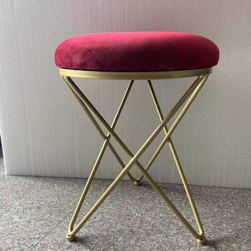 D 14x18inch Iron Upholstered Vanity Stool, Round Metal Padded Foot Stool Velvet Sponge fiilled Foot Rest Living Room Make up Bench Stool -Grey 14x18inch